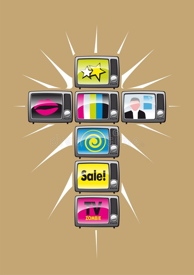 Religión de la TV stock de ilustración
