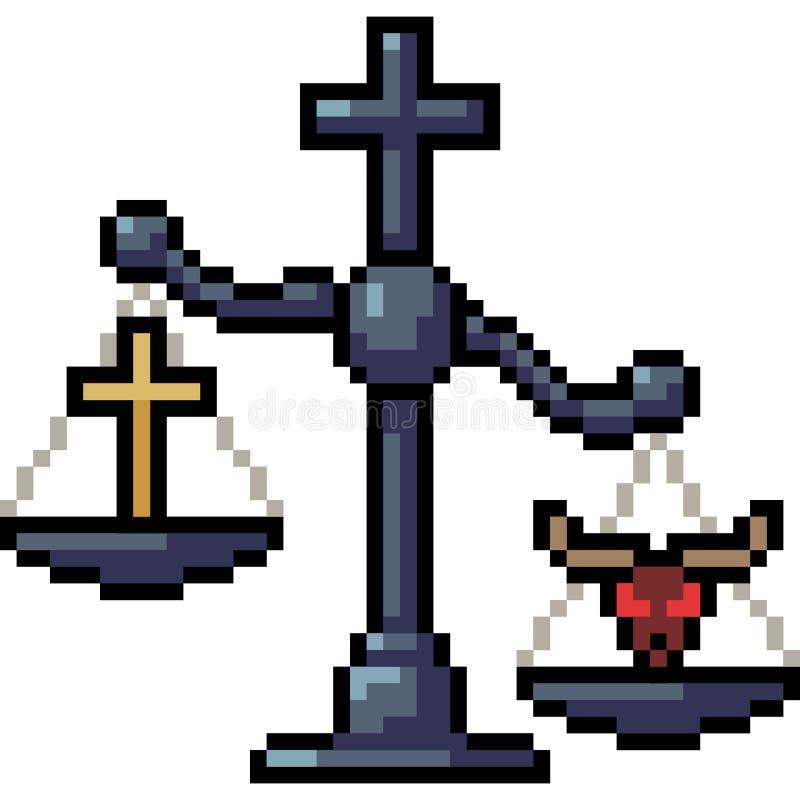 Religión del juez de la escala del arte del pixel del vector libre illustration
