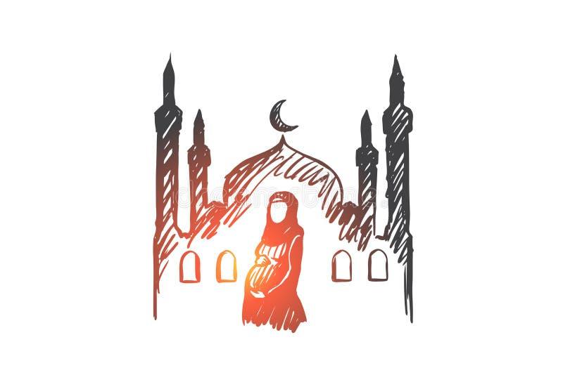 Religión, embarazo, musulmán, árabe, Islam, concepto de la mezquita Vector aislado dibujado mano stock de ilustración