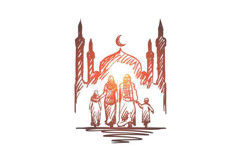 Religión, familia, musulmán, árabe, Islam, concepto de la mezquita Vector aislado dibujado mano libre illustration
