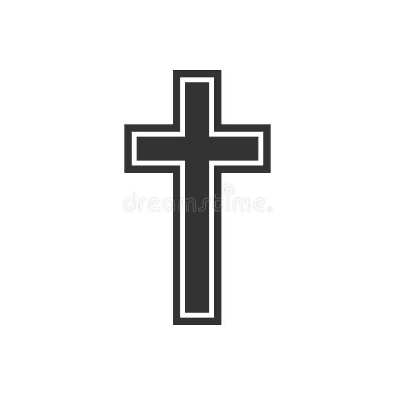 Religión, icono cruzado cristiano Diseño plano Ilustración del vector ilustración del vector