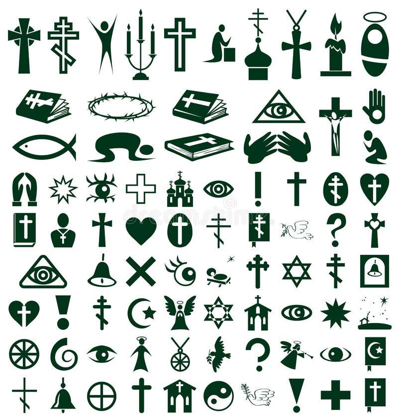 Religión, iconos de la fe en blanco stock de ilustración