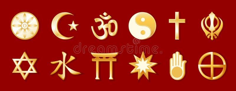 religiões do mundo de +EPS, ouro no Crimson ilustração royalty free