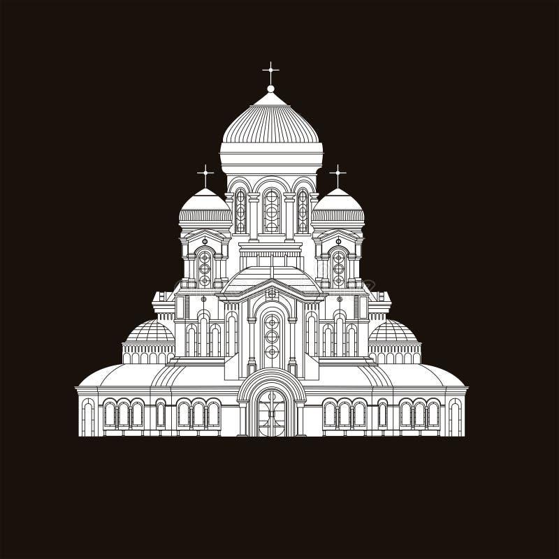Religiões do mundo do turismo do marco da construção do templo da igreja ortodoxa da catedral e cidade tradicional da estrutura f ilustração stock