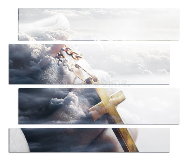Religiös Art With Gold Cross In hand med moln i bakgrund som föreställer högkvalitativ himmel royaltyfria bilder