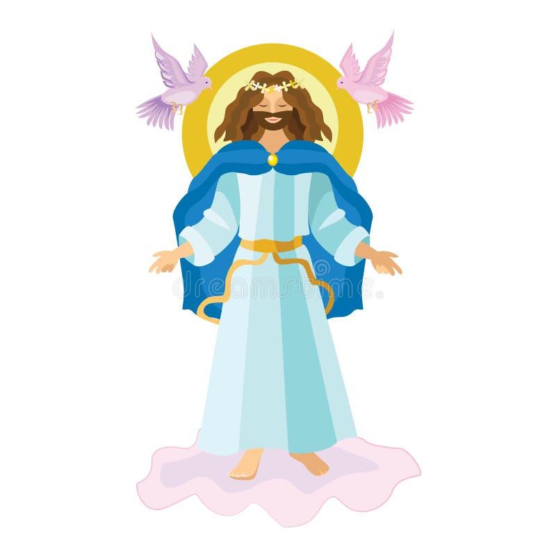 Religiös bakgrund för påskuppståndelse - uppstigna Lord Jesus Christ på molnet i himmelvektorillustrationen Helig vecka royaltyfri illustrationer