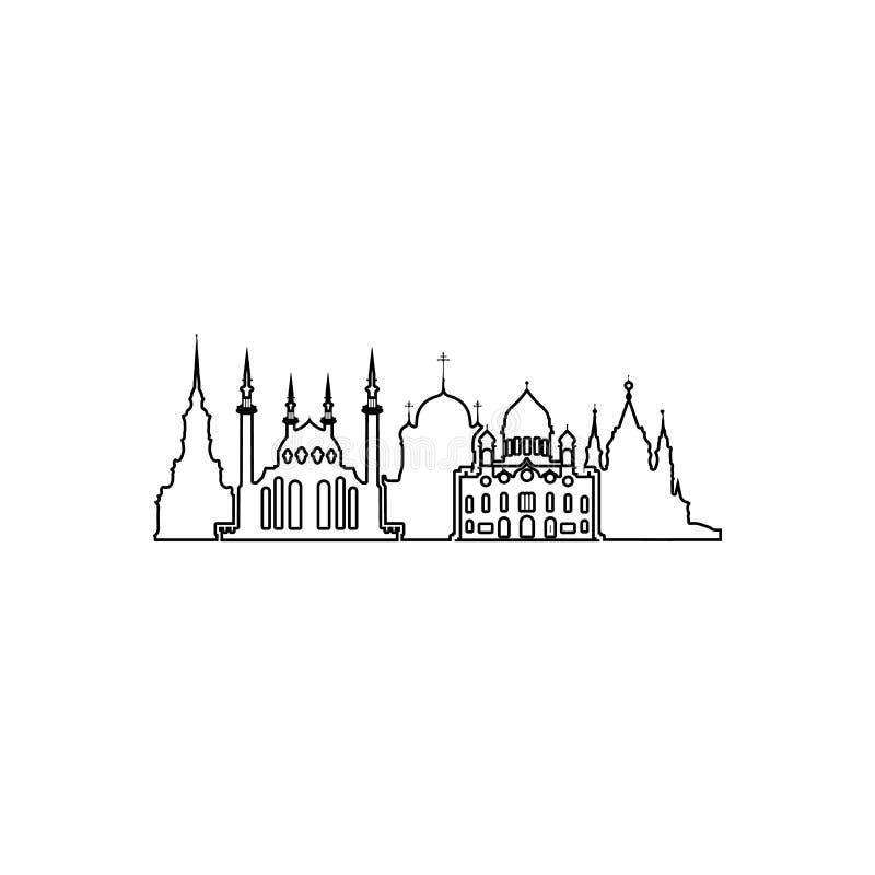 religiös cityscapesymbol Beståndsdel av Cityscape för mobilt begrepp och rengöringsdukappssymbol Översikt tunn linje symbol för w stock illustrationer