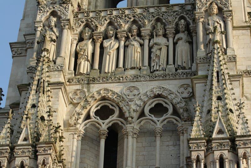 Religiös freskomålning på domkyrka av Amiens royaltyfria foton