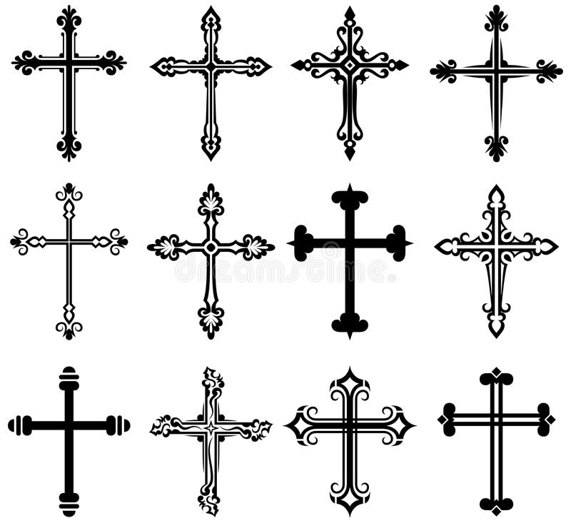 Religiös korsdesignsamling royaltyfri illustrationer