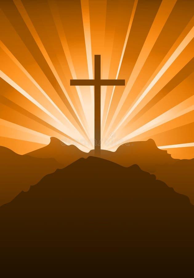 Religiös kristen bekännelse med ett kors och en himmel på solnedgången royaltyfri illustrationer