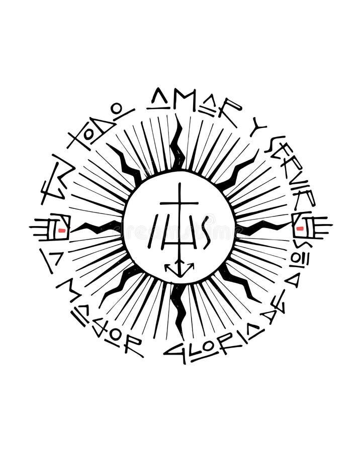 Religiös kristen symbolillustration stock illustrationer