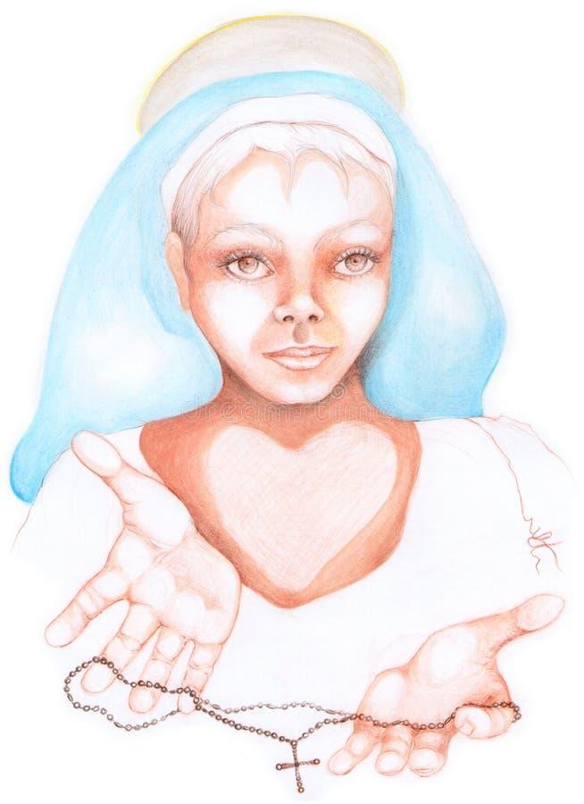 religiös kvinna stock illustrationer