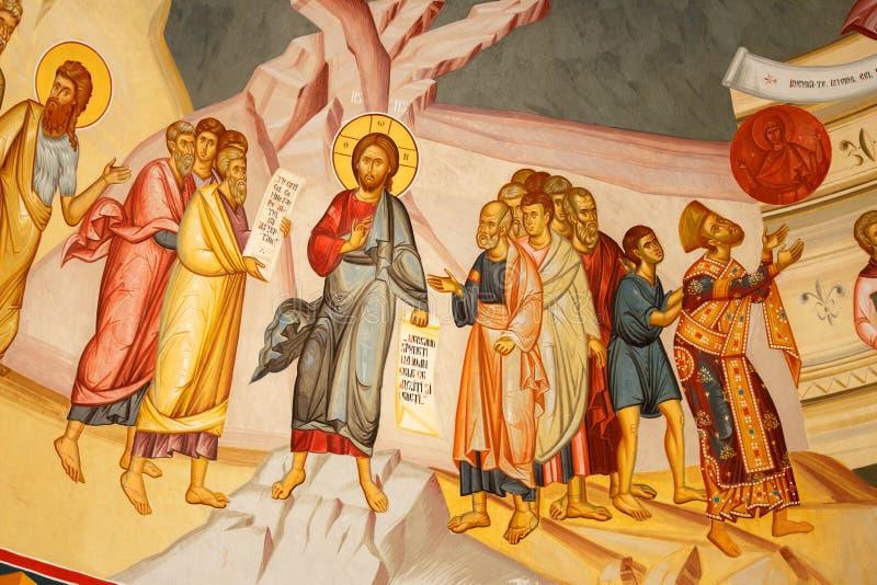 Religiös målning på en kyrklig vägg royaltyfri fotografi