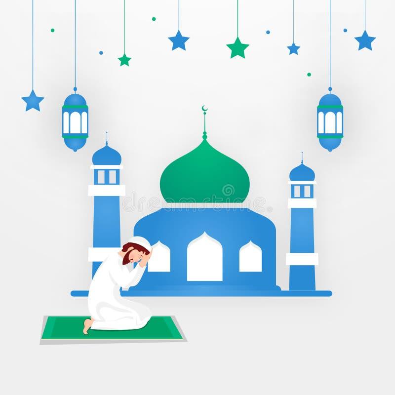 Religiös muslimsk man som framme ber av moské på vit bakgrund stock illustrationer