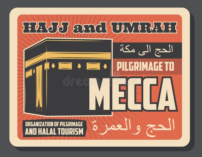 Religiös pilgrimsfärd för islam till den retro affischen för Mecka stock illustrationer