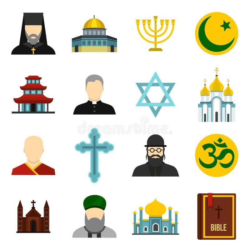 Religiös symbolsymbolsuppsättning, lägenhetstil stock illustrationer