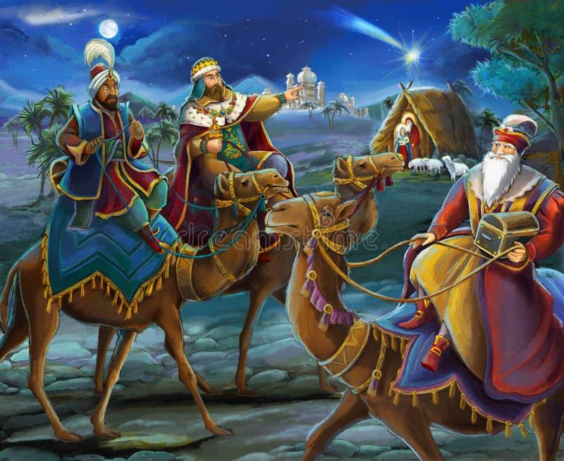 Religiösa konungar för illustration tre - och den heliga familjen - traditionell plats royaltyfri illustrationer