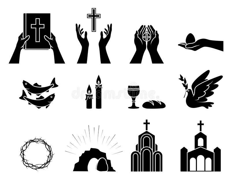 Religiösa kristna symboler och tecken inställda symboler royaltyfri illustrationer