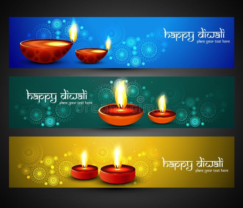 Religiösa stilfulla färgrika tre fastställda titelrader för lycklig diwali vektor illustrationer