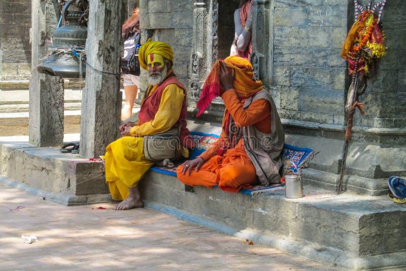 Religiöse asketische Mendicantmänner Sadhu lizenzfreies stockbild