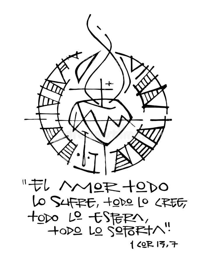 Religiöse Phrase auf spanisch, Illustration lizenzfreie abbildung