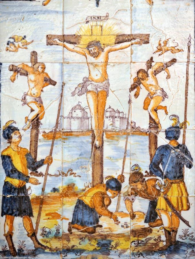 Religiöses Bild, Jesus wird auf das Kreuz, über Crucis genagelt lizenzfreies stockfoto