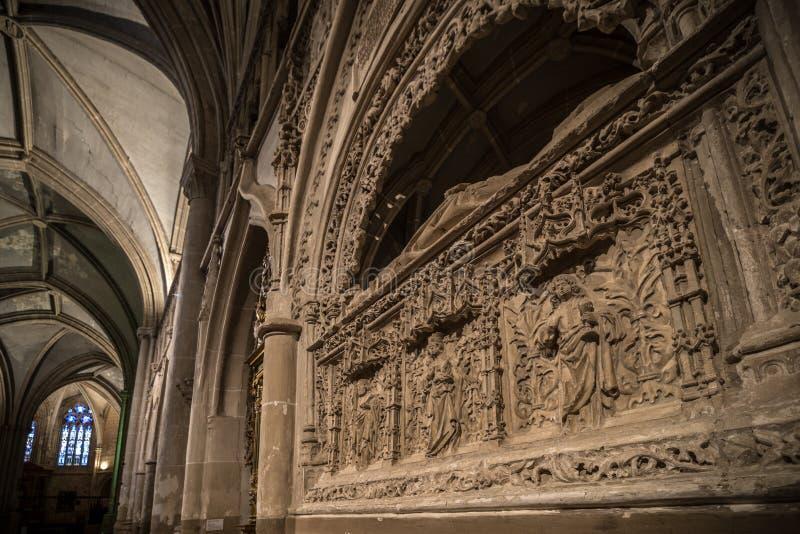 Religiöses Gebäude der gotischen Art in Palencia Spanien lizenzfreies stockbild
