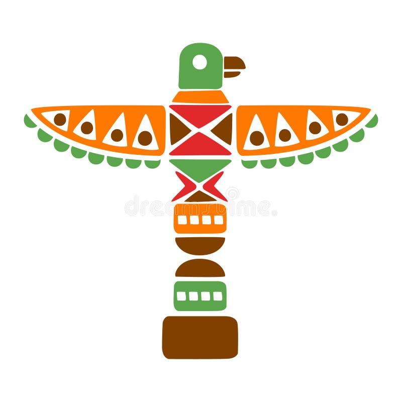 Religiöses geistiges Totem mit Eagle, gebürtige indische Kultur angespornter ethnischer Art-Druck Boho stock abbildung
