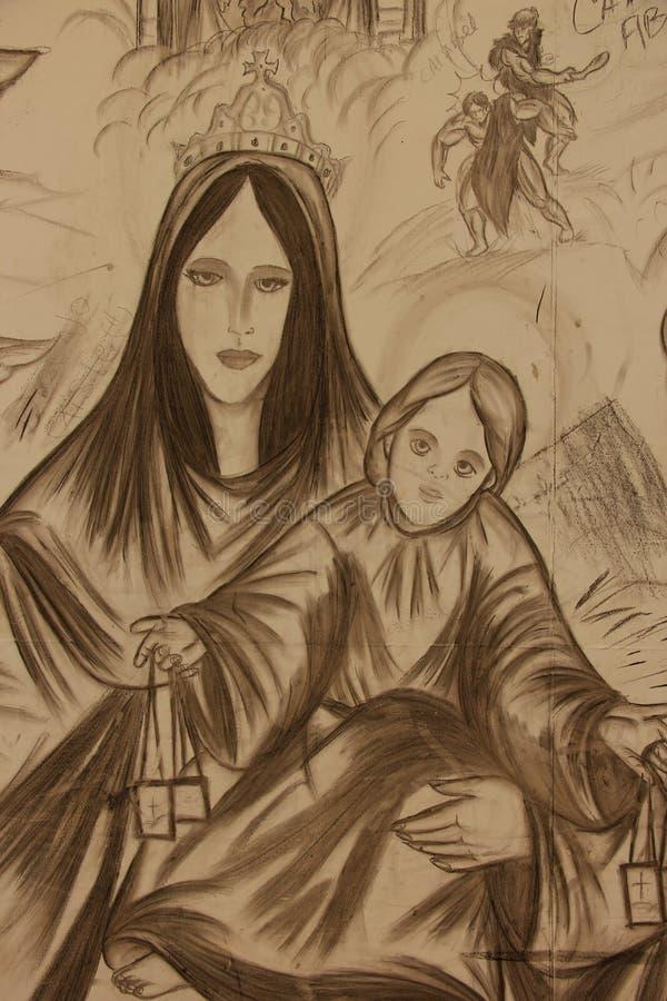Religiöses Wandgemälde stockbilder