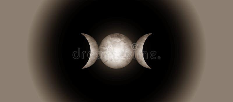 Religiöst realistiskt mystikertecken Wicca för trefaldig måne och Neopaganism symbol Trefaldig gudinnamåneisolat eller svart bakg royaltyfri illustrationer
