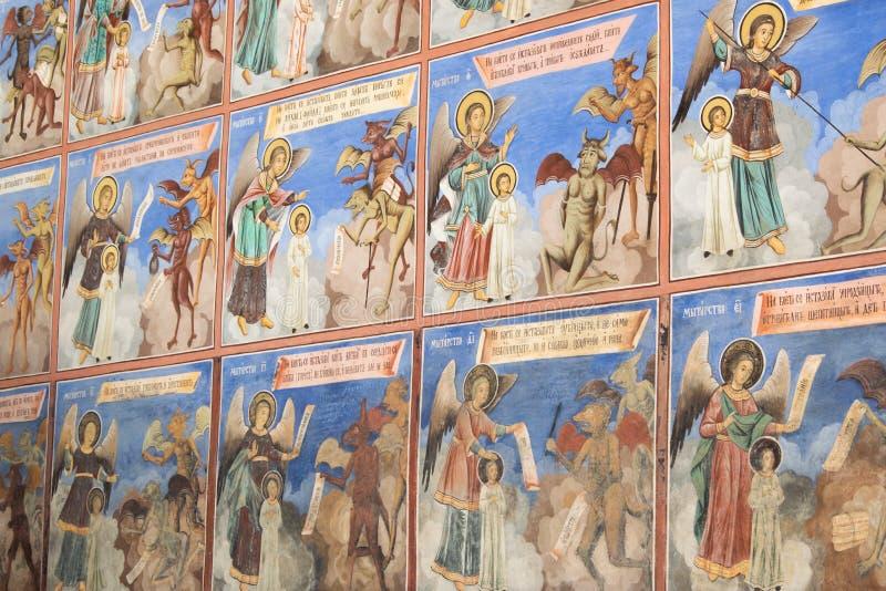 Religi?se Freskos auf den Abhandlungen von der Bibel, gemalt auf der Wand in Rila-Kloster, Bulgarien stockfotografie