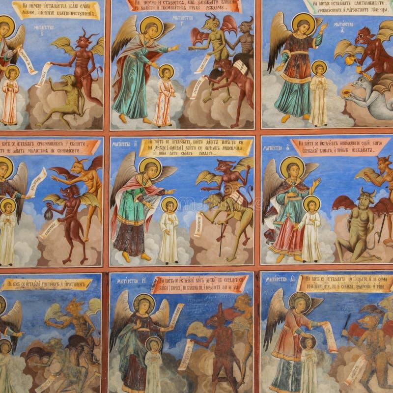 Religi?se Freskos auf den Abhandlungen von der Bibel, gemalt auf der Wand in Rila-Kloster, Bulgarien lizenzfreie stockfotos