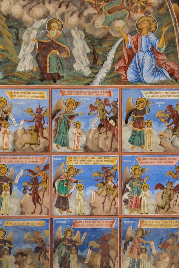 Religi?se Freskos auf den Abhandlungen von der Bibel, gemalt auf der Wand in Rila-Kloster, Bulgarien lizenzfreie stockfotografie