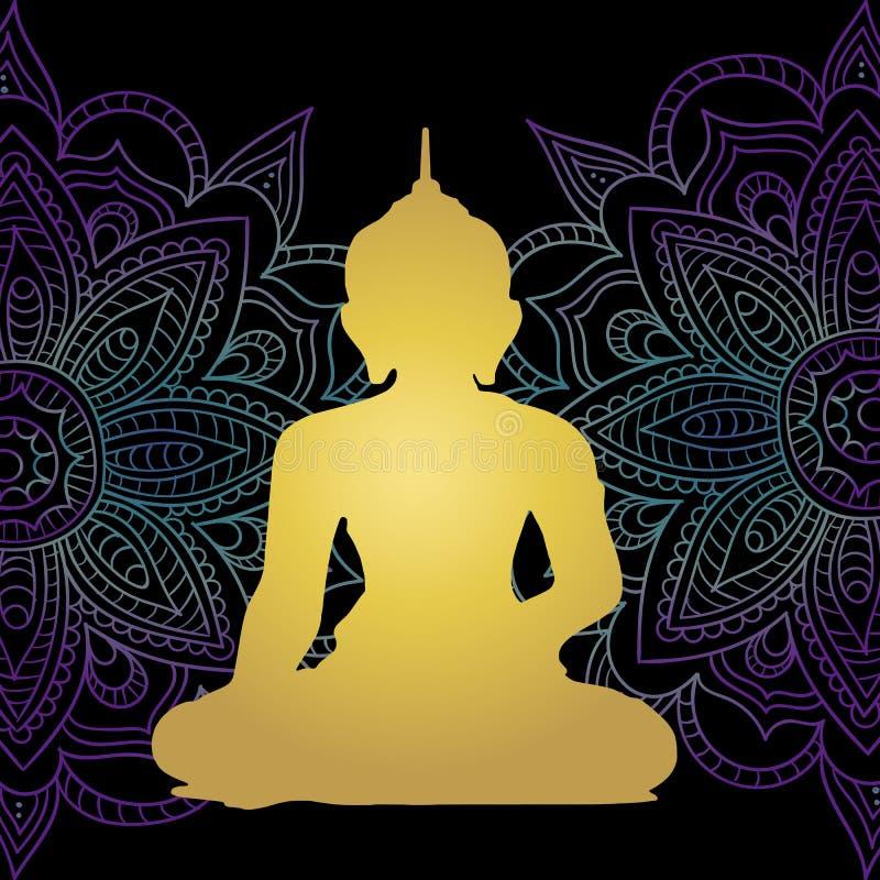 Religia buddyzm starożytna kultura medytacja Piękny tło mandla neonowy ilustracja wektor