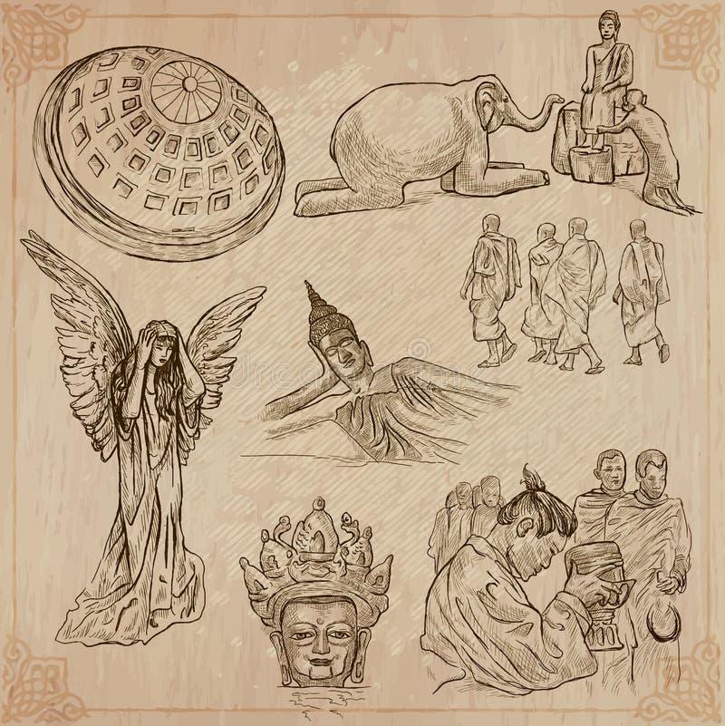 Religia dookoła świata Wektor paczka ilustracji