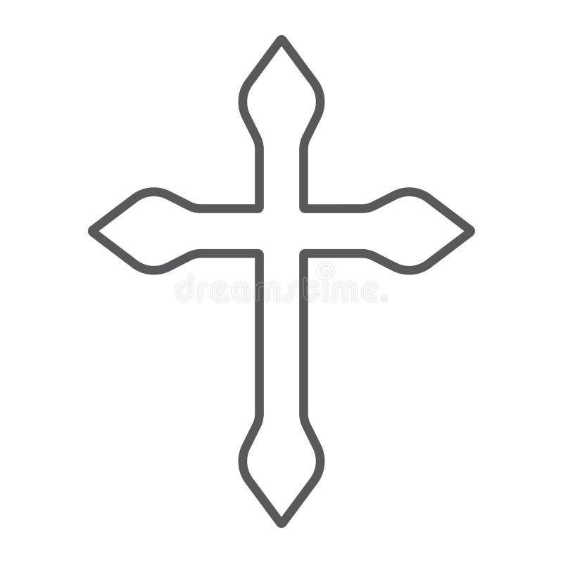 Religia krzyża cienka kreskowa ikona, chrześcijanin i katolik, krucyfiksu znak, wektorowe grafika, liniowy wzór na bielu royalty ilustracja