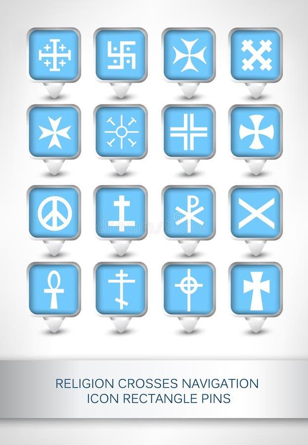 Religia krzyżuje nawigaci ikony prostokąta szpilki royalty ilustracja