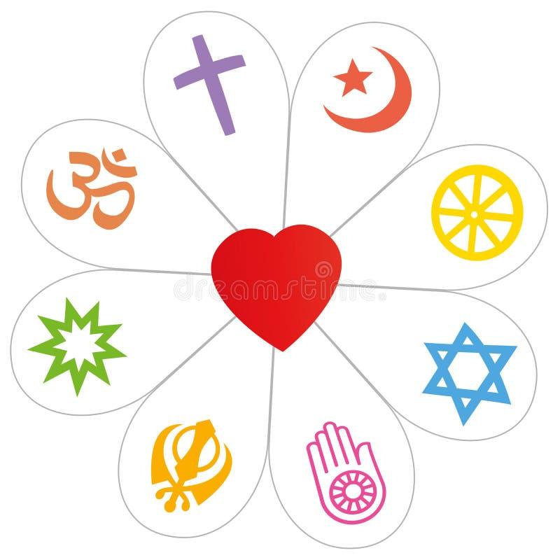 Religia pokoju kwiatu serca symbol ilustracji