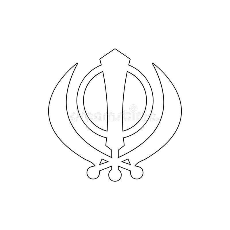 Religia symbol, Sikhism konturu ikona Element religia symbolu ilustracja Znaki i symbol ikona mog? u?ywa? dla sieci, logo, ilustracji