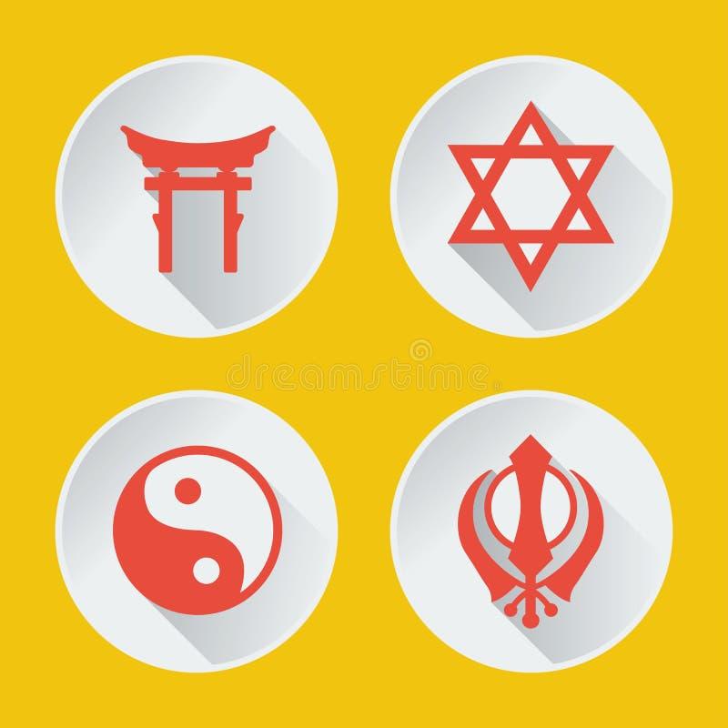 Religie światowy ikony mieszkania część 2 royalty ilustracja