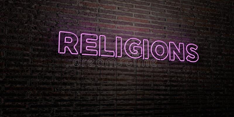 RELIGIE - Realistyczny Neonowy znak na ściana z cegieł tle - 3D odpłacający się królewskość bezpłatny akcyjny wizerunek ilustracji