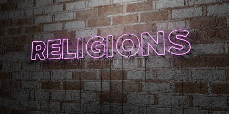 RELIGIE - Rozjarzony Neonowy znak na kamieniarki ścianie - 3D odpłacająca się królewskości bezpłatna akcyjna ilustracja ilustracji