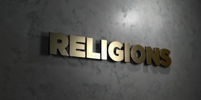 Religie - Złocisty tekst na czarnym tle - 3D odpłacający się królewskość bezpłatny akcyjny obrazek ilustracja wektor
