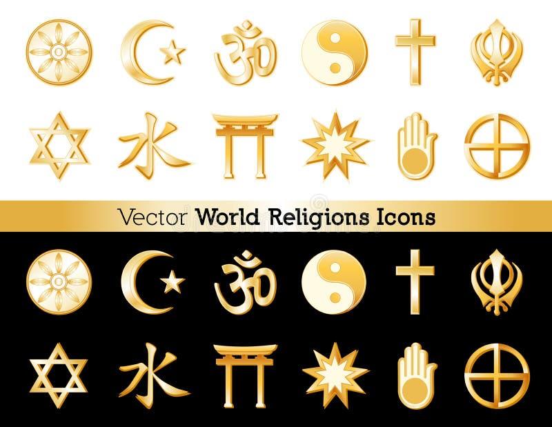 Religies Icons van de Wereld, Zwarte en Witte Achtergronden royalty-vrije illustratie