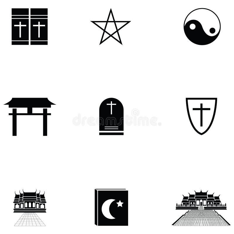 Religii ikony set royalty ilustracja