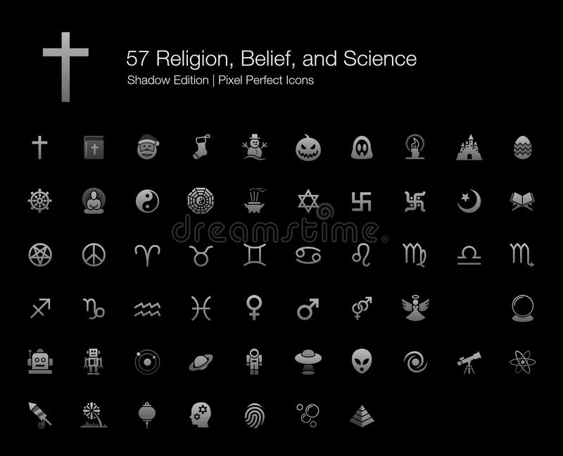 Religii wiary nauki ikon cienia piksel Doskonalić wydanie royalty ilustracja