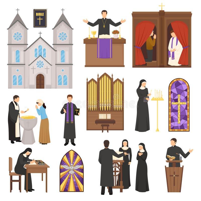 Religii wnętrza Katedralny set royalty ilustracja