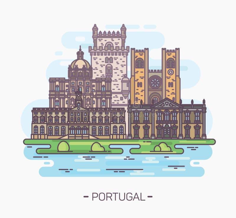 Religijni i średniowieczni portuguese punkty zwrotni ilustracja wektor