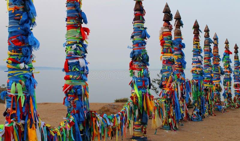 Religijni jaskrawi kolorowi azjatykci filary fotografia royalty free