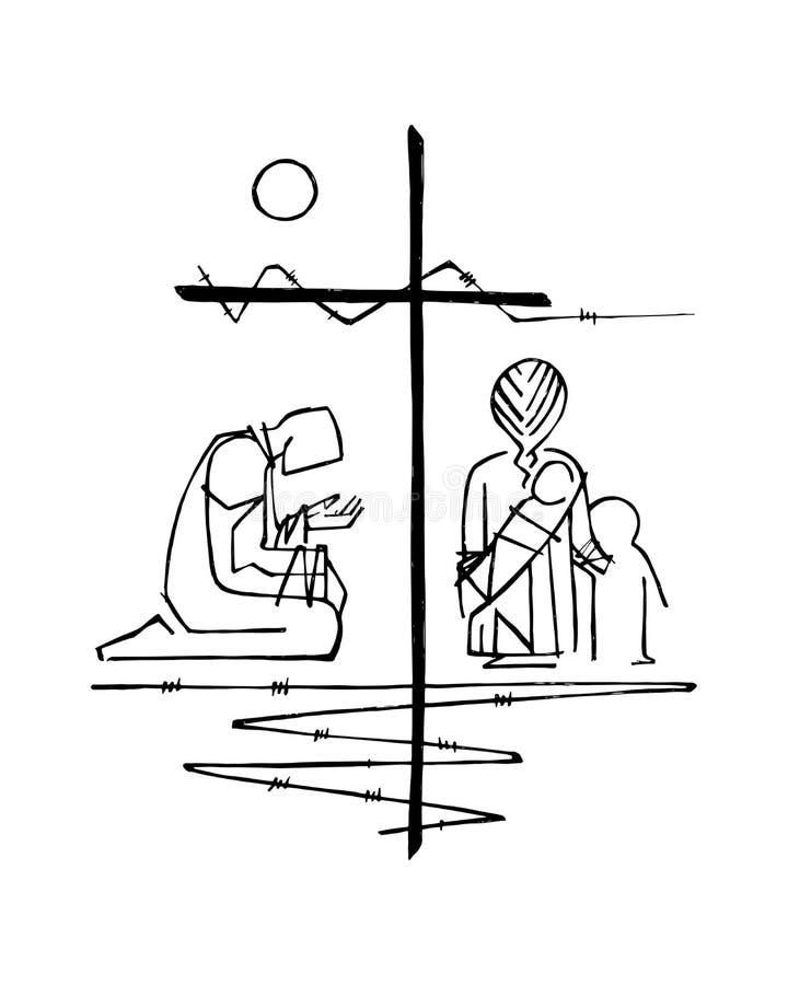 Religijni Przecinający i inni symbole royalty ilustracja
